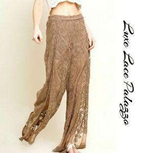 Pants - Luxe Lace Palazzo Pants High Waist Open Leg